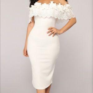 FashionNova Off the Shoulder Ivory Dress